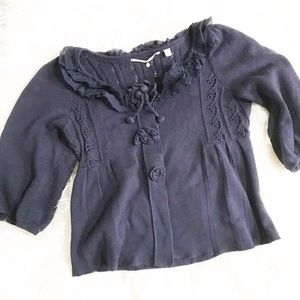 Anthropologie Knitted and Knotted Navy Cardigan